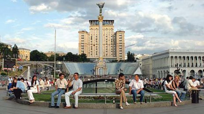 Friedliche Zeiten: der Unabhängigkeitsplatz in Kiew, bekannt seit der orangenen Revolution. Foto: Visum