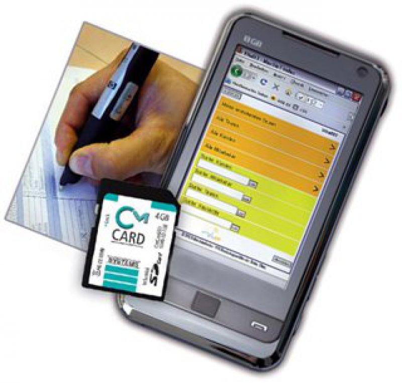 Die SD-Karte CmCard/SD wird einfach im Mobiltelefon eingebaut und dient der Ver- und Entschlüsselung sensibler Patientendaten. Foto und Grafik: Wibu Systems AG