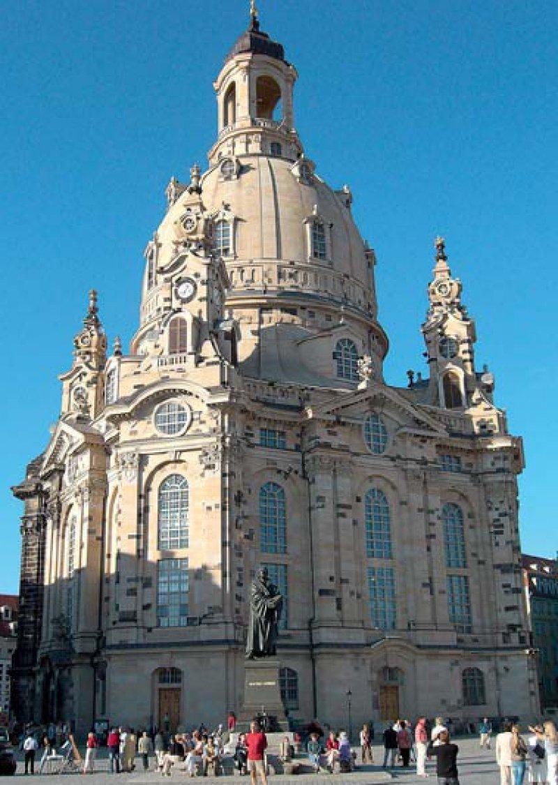 Die prachtvolle Frauenkirche ist eines der bedeutendsten Symbole für den Wiederaufbau der Stadt.Foto: Christoph Münch