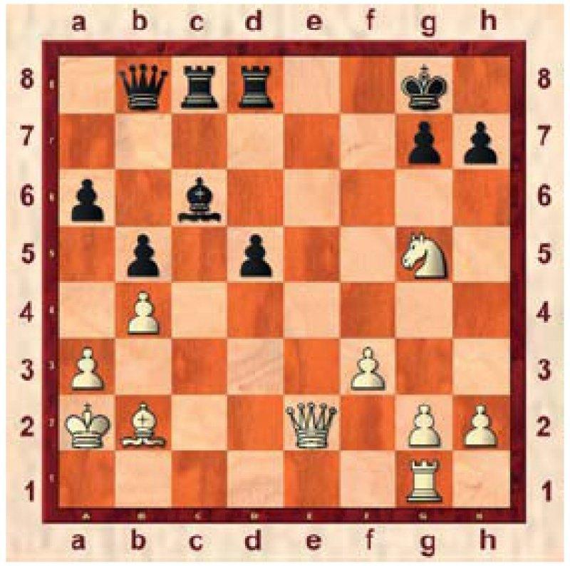 Lösung: Nach den Auftaktzügen 1. De6+ Kh8 erzwingt 2. Dh6!! (der Bauer g7 ist gefesselt) unausweichlich matt im nächsten Zug: entweder durch 3. Dxg7 oder 3. Dxh7.