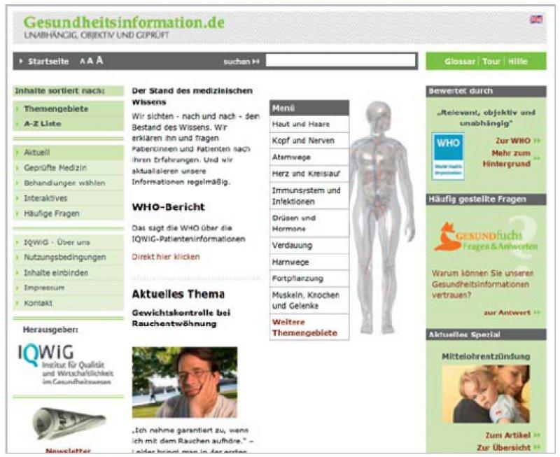 Gesundheitsinformation.de: Die 2006 freigeschaltete Website enthält mittlerweile evidenzbasierte Informationen zu mehr als 500 Erkrankungen.