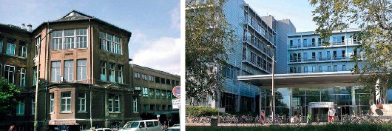Erhielt nach der Wende auch baulich ein neues Gesicht: der Medizin-Campus Liebigstraße. An die Stelle der 1900 eröffneten Chirurgischen Klinik trat das 2003 in Betrieb genommene Operative Zentrum. Fotos: Universität Leipzig