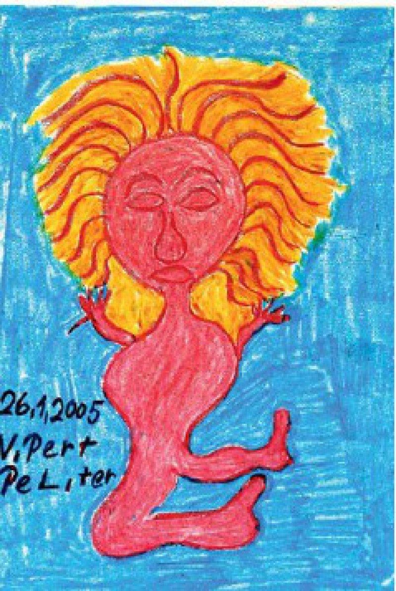 Frau in Pink – auf türkisfarbenem Hintergrund malte Vilbert in grellen Farben dieses Frauenbildnis. Dabei verzichtet er auf eine detaillierte Darstellung und verwendet skizzenhafte Formen. Foto: Eberhard Hahne