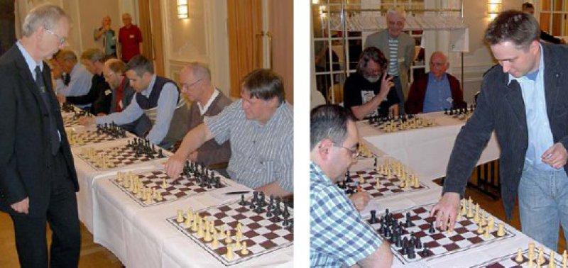 Internationale Großmeister im Einsatz: Helmut Pfleger (links) und Alexander Naumann, Apotheker und Mitglied der deutschen Nationalmannschaft bei der Schacholympiade 2008 in Dresden, ließen bei ihren Partien gegen insgesamt 27 Ärzten nicht wirklich viel zu. Naumann spielte einmal unentschieden, Pfleger gewann alle Partien.