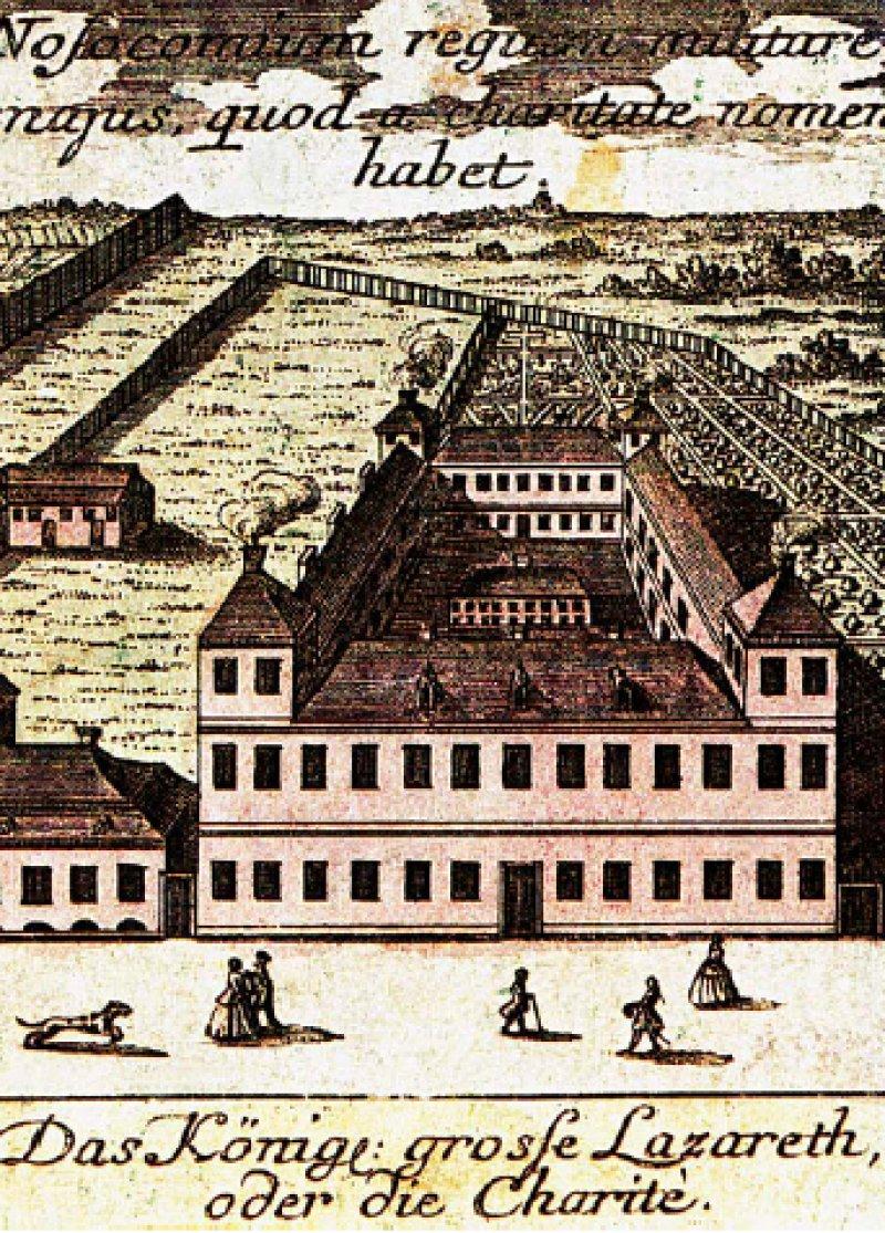 """""""Das grosse königliche Militärhospital, das seinen Namen von der Barmherzigkeit hat."""" Blick auf die noch außerhalb der Stadtmauern gelegene Charité. Kolorierte Radierung von Matthaeus Seutter um 1740. Foto: Ullstein"""