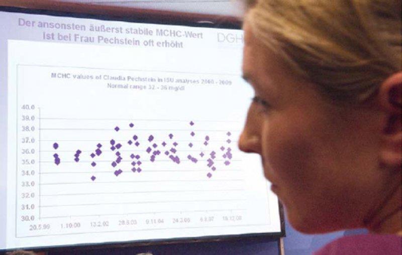 Claudia Pechstein bei der Präsentation der Daten, die vom Dopingvorwurf entlasten sollen. Foto: ddp