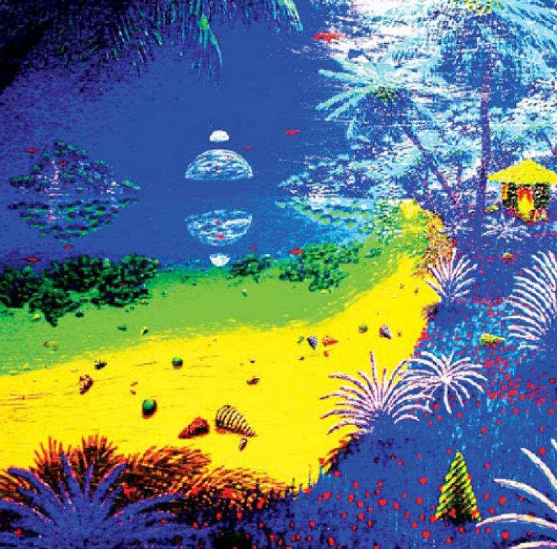 "Andrea Rauschs Lieblingsmotive sind paradiesische Landschaften: ""Blaues Strandpanorama – anderswo."""