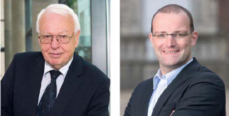 Eine Blickrichtung, zwei Ansichten: Dr. jur. Rainer Hess (links) und Jens Spahn stritten während der Anhörung um den richtigen Weg, den man künftig bei der Nutzenbewertung einschlagen sollte. Foto: CDU/CSU-Fraktion