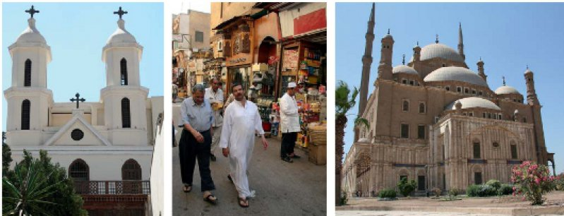 Die Al-Moallaka- Kirche (v. l.) ist der heiligen Maria gewidmet. Sie thront oberhalb eines römischen Forts. Im Khan-El-Khalili- Basar duftet Kairo nach Apfel- und Pfirsicharoma. Der Blauen Moschee in Istanbul nachempfunden ist die Muhammad-Ali-Moschee in der Kairoer Zitadelle. Fotos: Rainer Heubeck