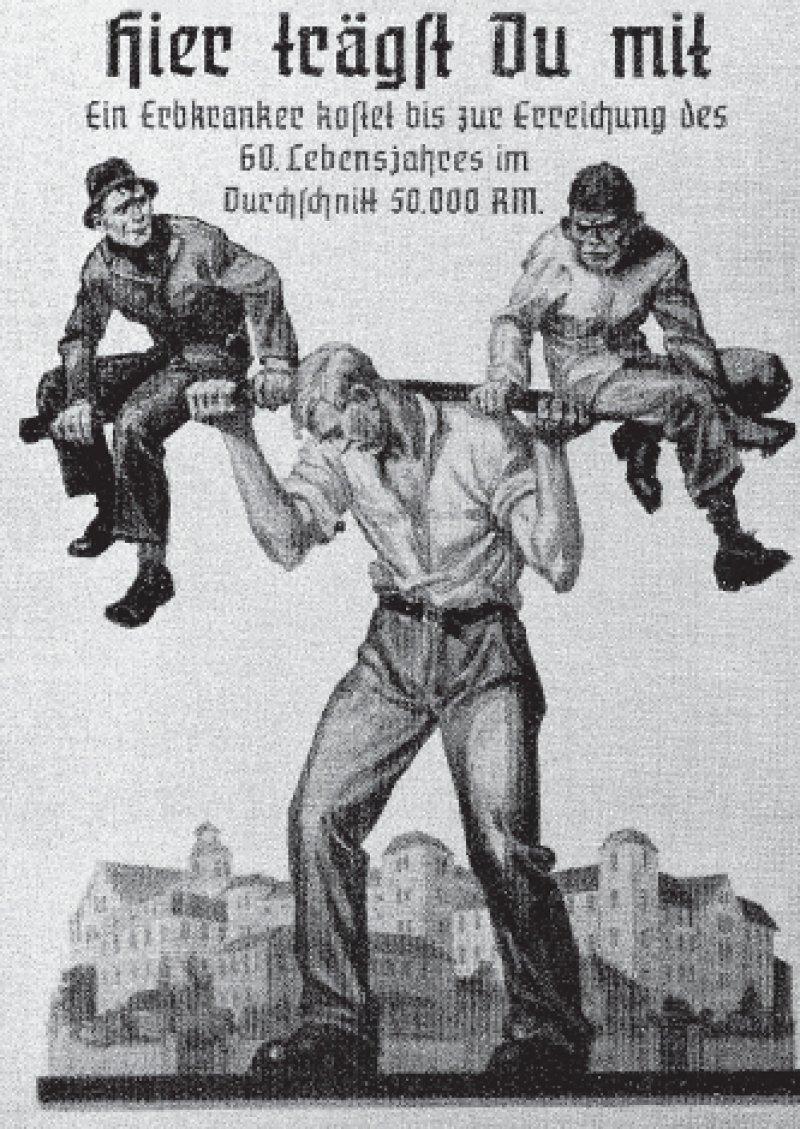 """Die """"Ausmerze schlechter Menschenkeime"""" erschien auch vielen der emigrierten deutschen Ärzte als eine sinnvolle Maßnahme zur Gesunderhaltung des Volkskörpers. Foto: Jakob Graf, Biologie für Oberschule und Gymnasium, 1940"""