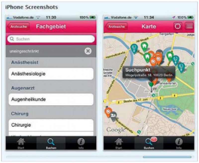 Die Navigationsfunktion erleichtert den Weg zur ausgewählten Praxis auch in unbekannten Umgebungen.