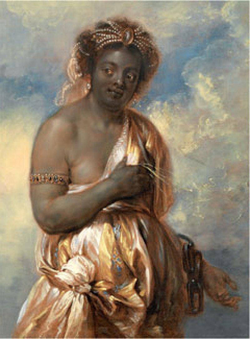 """Jan Boeckhorst: """"Allegorie Afrikas"""" (aus der Serie: """"Die vier Erdteile""""), Öl auf Leinwand, um 1650, 134 × 115,6 cm: Neugierig, gelassen, ein wenig scheu, aber auch verführerisch blickt die junge dunkelhäutige Frau aus dem Bild heraus. Krass hebt sich ihre Hautfarbe vor dem blau-gelben Wolkenhimmel ab. Ihren rechten Arm hält sie vor ihre halb entblößte Brust. Ihr linker Arm steckt in einer schweren Eisenkette, Symbol der Sklavenschaft. Sie trägt einen mit Perlenschnüren verzierten Turban, einen Edelsteinreif am rechten Oberarm und über einem hellen Unterkleid venezianischen Stils ein goldfarbenes, reich verziertes Gewand. Mit dem Dreiviertelporträt personifizierte Boeckhorst – der ethnozentristischen Denkweise seiner Zeit entsprechend – Afrika in Form eines anmutigen, prachtvoll geschmückten, animalisch-wilden weiblichen Körpers. © Liechtenstein Museum. Die Fürstlichen Sammlungen, Wien"""