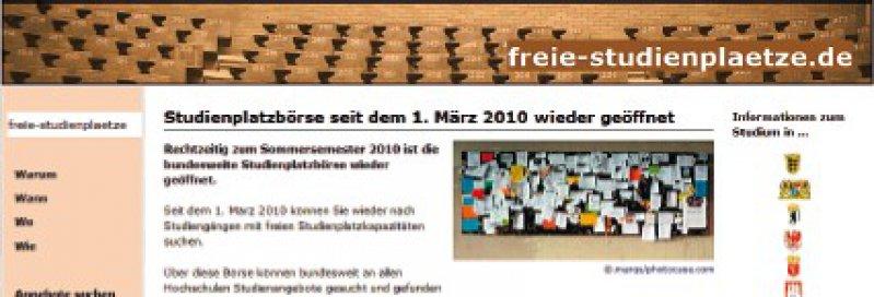Bis zum Start des bundesweiten Serviceverfahrens dient nach Vereinbarung von Bund, Ländern und Hochschulen die unter www.freie-studienplaetze.de allen Studierenden zugängliche Studienplatzbörse als Übergangslösung.