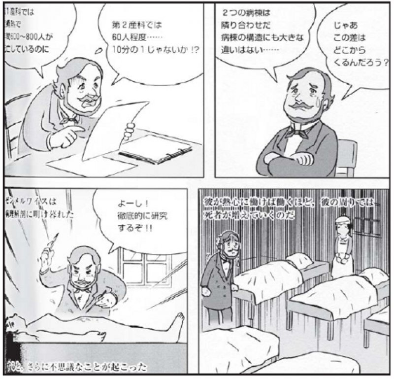 Ein Manga von Tamutso Ibakari beschäftigt sich mit Semmelweis auf der Spur des Kindbettfiebers.