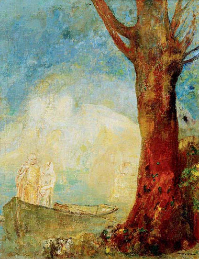 Odilon Redon: Die Barke, um 1900, Öl auf Leinwand, 65 x 50,5 cm