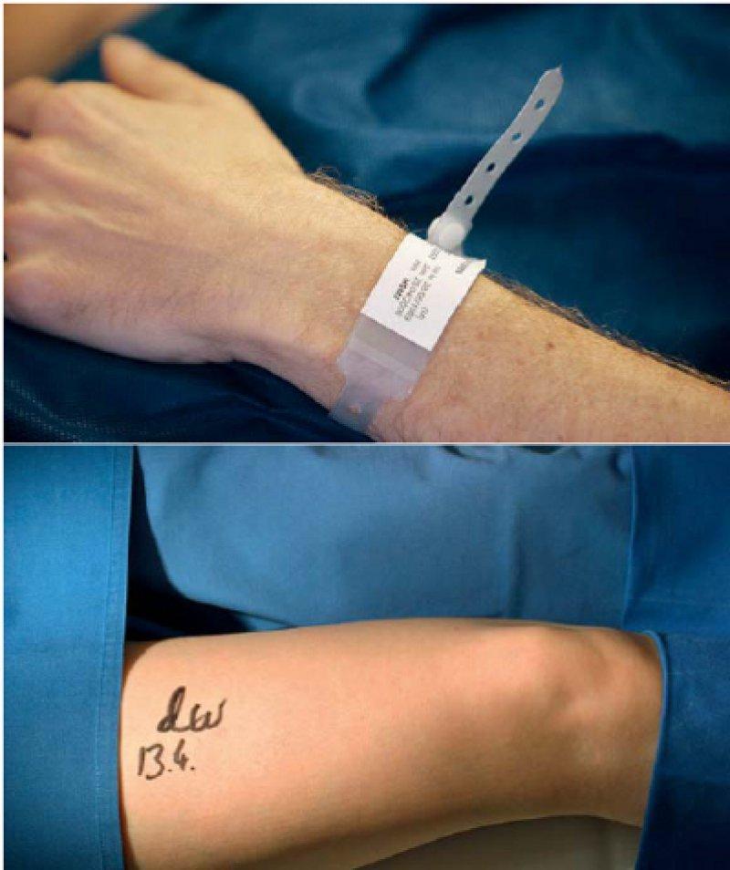 Mit einfachen Mitteln lässt sich die Patientensicherheit erhöhen, beispielsweise durch ein Identifikationsarmband für den Patienten und durch die Kennzeichnung des zu operierenden Beins. Foto (oben): AOK-Mediendienst, Foto (unten): picture alliance
