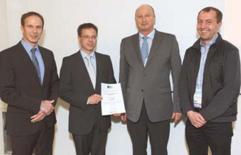 Stephan Silbermann, Knut Mai, Horst Harald Klein und Eckhard Lammert (von links). Foto: Dirk Deckbar, Berlin; Copyright Berlin-Chemie AG