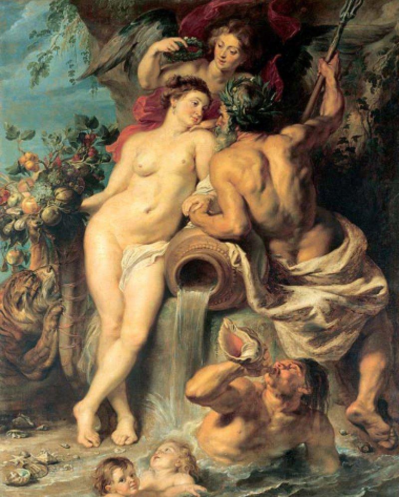 """Peter Paul Rubens: """"Bündnis der Erde mit dem Wasser"""", circa 1618–21, Öl auf Leinwand, 222,5 × 180,5 cm: Im Zentrum des allegorischen Werks steht die lebensspendende Göttin Kybele mit dem Füllhorn in der Hand als Verkörperung der Erde. Meeresgott Neptun mit dem Dreizack in der rechten Hand repräsentiert das Element Wasser. Über ihren Köpfen segnet die Siegesgöttin Nike die fruchtbare Verbindung von Erde und Wasser. Rubens bediente sich zwar der antiken Mythologie, thematisierte mit den nackten Gottheiten aber ein damals aktuelles Thema: die lebenswichtige Verbindung seiner unter spanischer Herrschaft stehenden Heimatstadt Antwerpen mit dem Fluss Schelde, deren Mündung immer wieder durch die Holländer blockiert wurde. ©State Hermitage Museum, St. Petersburg"""