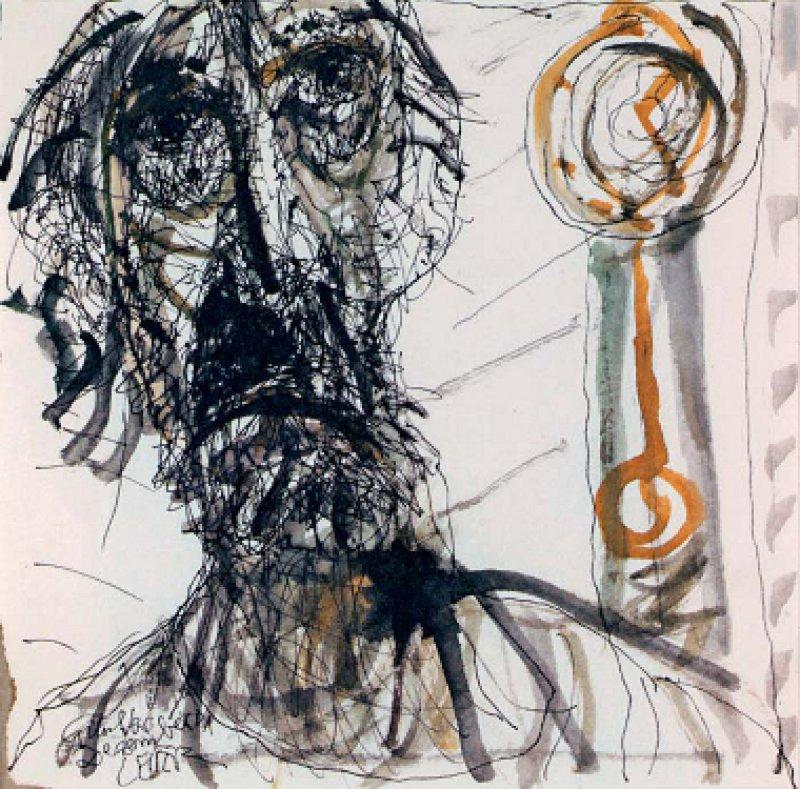 Horst Leifer, Selbstbildnis, 5. Dezember 2001, Federzeichnung, Aquarell. Abbildungen:Technische Universität Dresden, Institut für Geschichte der Medizin
