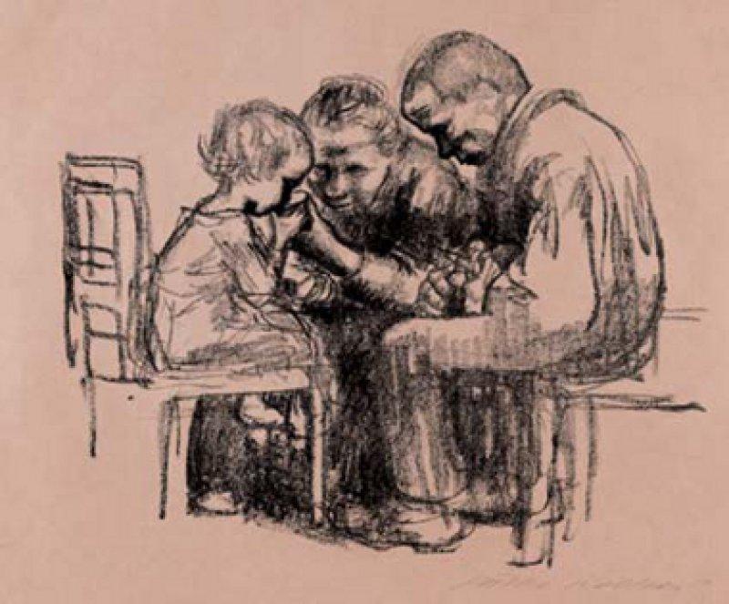Käthe Kollwitz, Besuch im Kinderkrankenhaus, Lithographie, 1926