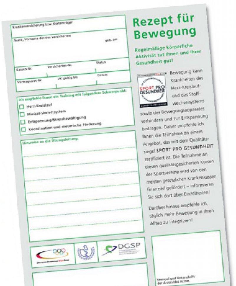 Der Rezeptvordruck kann bei den Landesärztekammern oder den Landessportbünden angefordert werden. Der Vordruck ist auch abrufbar unter: www.baek.de/specialdownloads/Rezept_fuer_Bewegung.pdf.