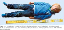 The German pediatric emergency ruler (PädNFL), placed with one end by the heels of a child lying with legs outstretched. Weight, age-appropriate normal values, sizes of equipment, and weight-related doses of emergency drugs can be read off the section that lies by the child's head