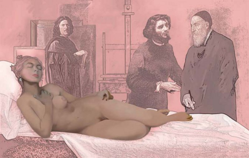 """Richard Hamilton: """"Balzac"""" (b), 2011, Inkjetdruck auf Leinwand, 112 × 176 cm: Auch in seinem letzten, unvollendeten Werk setzte sich der renommierte britische Künstler, der als Begründer der Pop-Art gilt, mittels moderner digitaler Bildtechniken mit Kunst und Literatur der Vergangenheit auseinander. Es gibt drei Versionen des großformatigen Bilds, die derzeit in der Londoner National Gallery ausgestellt sind.© Courtesy of the Estate of Richard Hamilton"""
