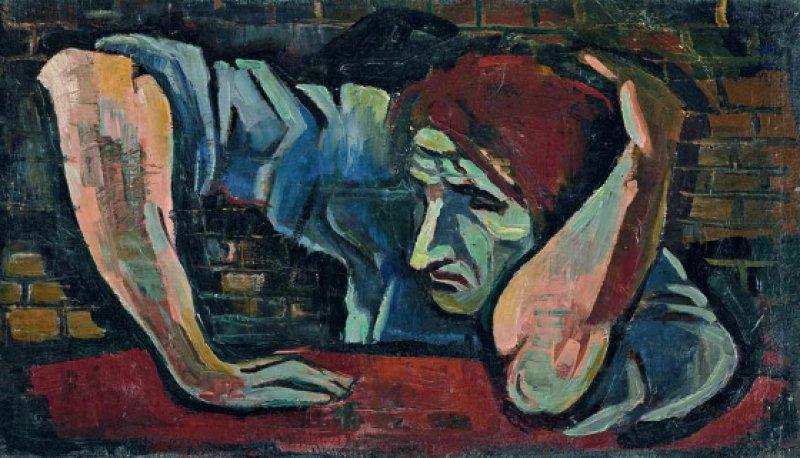 Rudolph G. Bunk: Mann vor der Mauer, um 1935/36, Öl auf Leinwand, 30 × 53 cm, Foto: Bojana Denegri und Thomas Bunk Sammlung Gerhard Schneider, Olpe