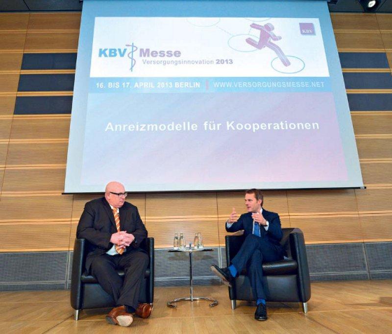 Pro Kooperationen: Daniel Bahr und Andreas Köhler waren sich zumindest einig, dass es noch mehr Spielraum für Innovatives geben muss. Fotos: Georg J. Lopata
