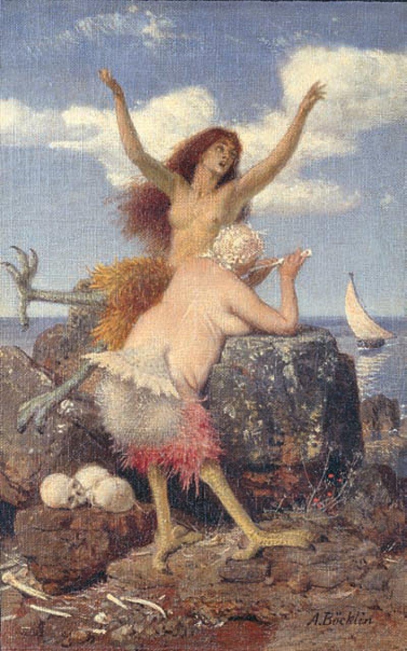 """Arnold Böcklin: """"Sirenen"""", 1875, Tempera auf Leinwand, 46 × 31 cm: Zwei bizarre weibliche Geschöpfe, halb Frau, halb Vogel, locken auf einem Felsen am Meeresufer mit Gesang und Flötenspiel Seefahrer an. Die Männer ahnen nicht, dass es sich bei den Verführerinnen mit den entblößten Brüsten um Sirenen handelt, die ihnen nach dem Leben trachten. Ihre gefiederten Tierleiber und die Vogelbeine mit den mächtigen Krallen haben die Zwitterwesen geschickt hinter dem Felsen verborgen. Zu ihren Füßen zeugen Totenschädel und Knochen von ihren Morden. Der antike Sirenenmythos inspirierte Böcklin zu seiner satirischen Darstellung. Foto: Andres Kilger Staatliche Museen zu Berlin, Nationalgalerie/bpk"""