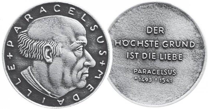 Vorder- und Rückseite der Paracelsus-Medaille