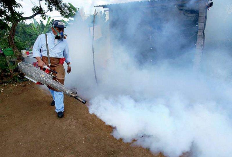 Große gesundheitspolitische Herausforderung: Mitarbeiter des Gesundheitsministeriums versprühen ein Nervengift gegen Insekten. Fotos: picture alliance
