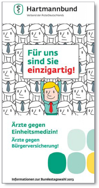 Klare Ansage: Der Hartmannbund bietet einen Flyer mit Argumenten gegen die Bürgerversicherung an. 160 000 Exemplare wurden bislang verschickt.