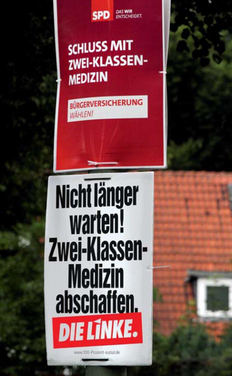 SPD und Linke werben mit der Bürgerversicherung – ansonsten spielt die Gesundheitspolitik in der Berichterstattung über den Wahlkampf kaum eine Rolle. Foto: Caro