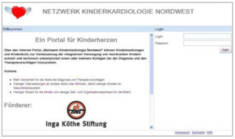 www.kinderkardiologie-nordwest.de: Einstiegsseite der Plattform. Unten: Ansicht der Dokumentationssoftware mit der Möglichkeit, Bilddaten anzuzeigen und zu exportieren