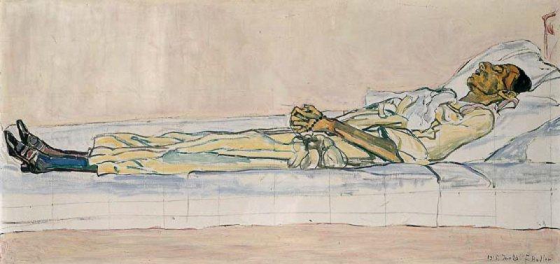 """Ferdinand Hodler: """"Bildnis der toten Valentine Godé-Darel"""", 1915, Öl auf Leinwand, 60 × 124 cm: In völliger Bildparallelität ist der ausgezehrte Leichnam der gerade Verstorbenen aufgebahrt. Ihr schädelartiger Kopf mit dem geöffneten Mund hebt sich dunkel von den weißen Kissen ab. Zwischen dem Haupt und den schwarzen Lackschuhen wirkt ihr langgestreckter Körper geschlechtslos, fast durchsichtig, als wäre er schon in einem Auflösungsprozess begriffen. Kunstmsueum Solothurn; Aufnahme Atelier Hegner"""