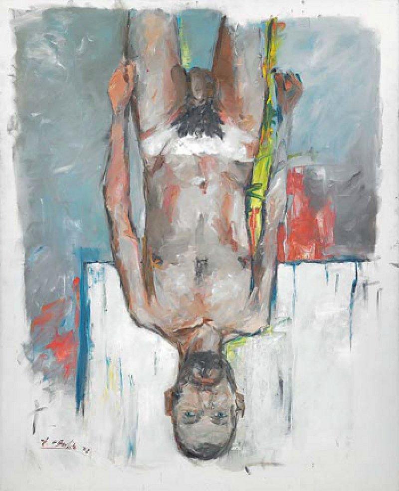 """Georg Baselitz: """"Fingermalerei – Akt"""", 1972, Öl auf Leinwand, 200 × 162 cm: Der nackte Künstler steht auf dem Kopf. Frontal und in voller Lebensgröße präsentiert er sich dem Betrachter – und entzieht sich dessen Blicken zugleich durch seine Umkehrhaltung. Die Disharmonien des Selbstporträts sollen ihn davor bewahren, als Person zu sehr in Erscheinung zu treten. Deshalb malte sich Baselitz auch mit den Fingern. © Georg Baselitz; Fotonachweis: Mischa Nawrata, Wien"""