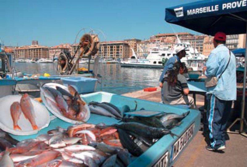 Frisch vom Kutter: Am frühen Morgen bieten die Fischer im Vieux Port ihren Fang zum Verkauf an. Foto: dpa
