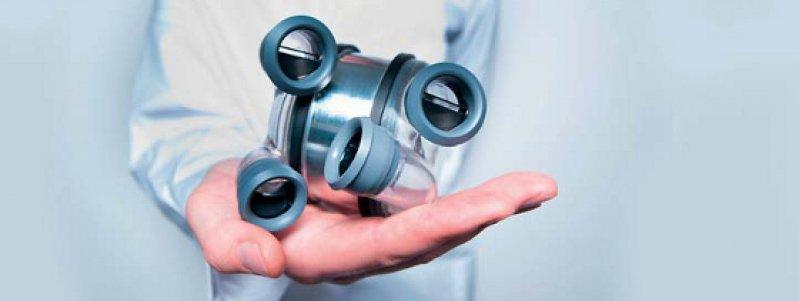 Pumpeinheit von ReinHEART, bestehend aus zwei Pumpkammern und dazwischenliegendem Antrieb. Institut für Angewandte Medizintechnik, RWTH Aachen