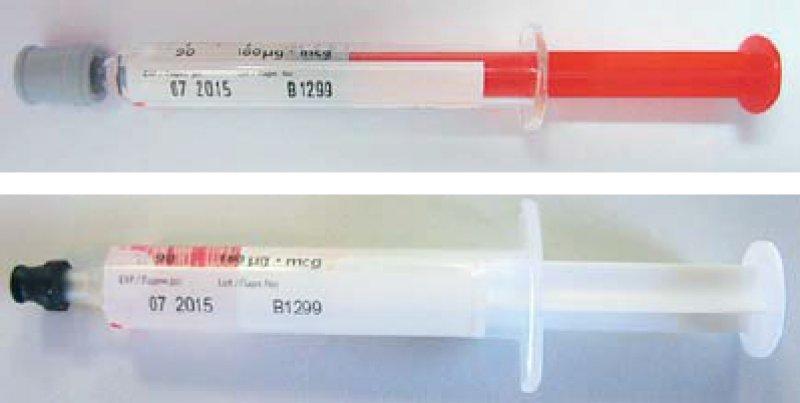 Original (oben) und Fälschung (unten) des Interferon- alpha-Präparates Pegasys®. Fotos: Roche