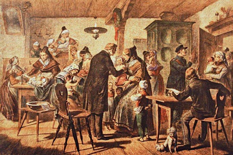 """Pockenschutzimpfung auf dem Lande. Holzstich aus der Zeitschrift """"Die Gartenlaube"""", 19. Jahrhundert. Foto: Hans-Peter Theurich"""