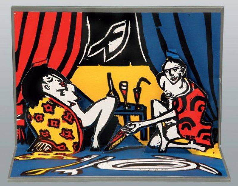 Klaus Süß, Wollust. Mehrfarbiger Holzschnitt. 21,5 × 30,3 × 22 cm (Pop-up-Grafik). Auflage 60 Exemplare, hier Ex. 47. Foto: Eberhard Hahne