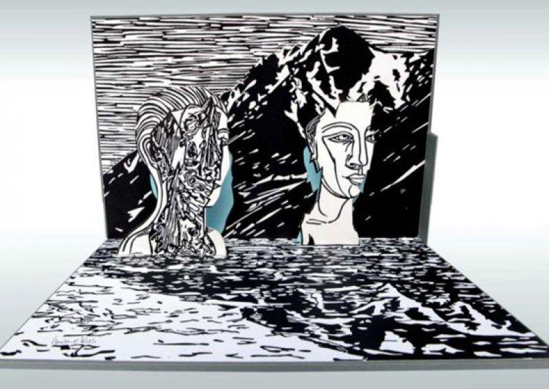 Katharina Immekus: Neid (2012). Linolschnitt schwarz-weiß, 21,5 × 30,3 × 22 cm (Pop-up-Grafik), Auflage 60 Exemplare, hier Exemplar 47. Foto: Eberhard Hahne