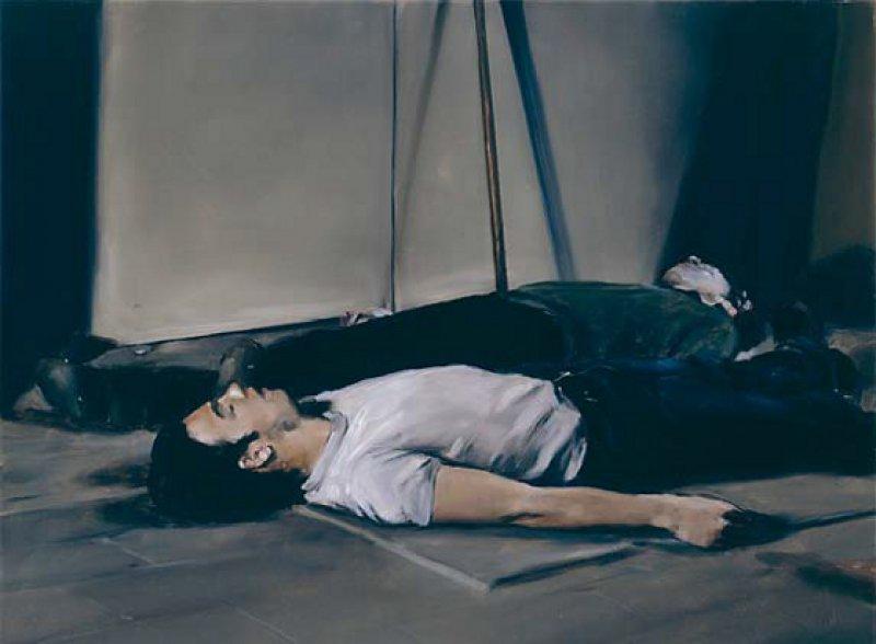 """Michaël Borremans: """"The Bodies (I)"""", 2005, Öl auf Leinwand, 60 × 80 cm: Zwei nicht näher zu identifizierende, mit Hemd und Hose bekleidete Männer liegen wie aufgebahrt nebeneinander – ein Szenario zwischen Leben und Tod. Courtesy David Zwirner, New York/London; ©Photographer Ron Amstutz"""