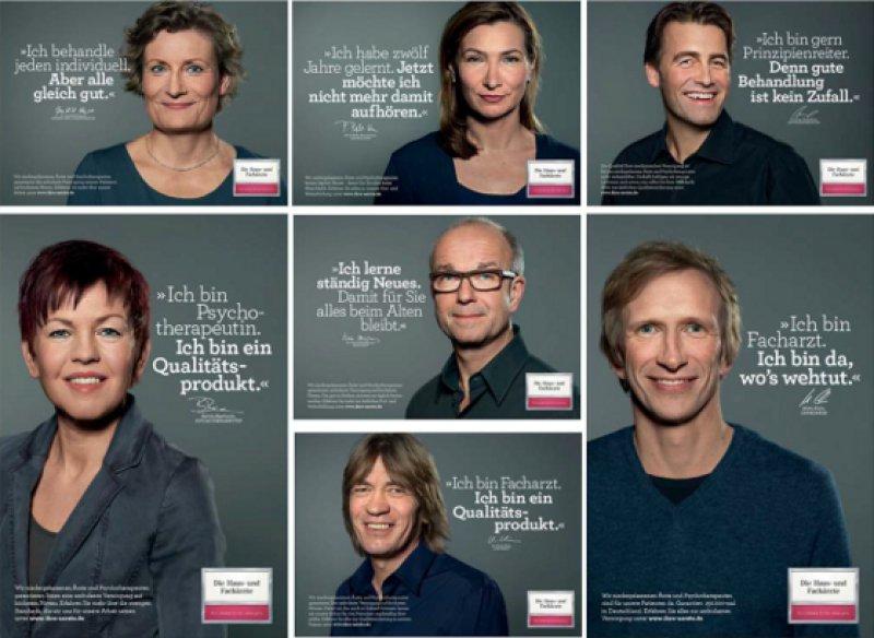 Bettina Beerhenke und Mirko Kuhn (untere Reihe l. u. r. außen) gehören zu den neuen Gesichtern der Imagekampagne. Mit dem Deutschen Ärzteblatt sprachen sie darüber, warum sie die Kampagne für sinnvoll halten. Fotos: KBV