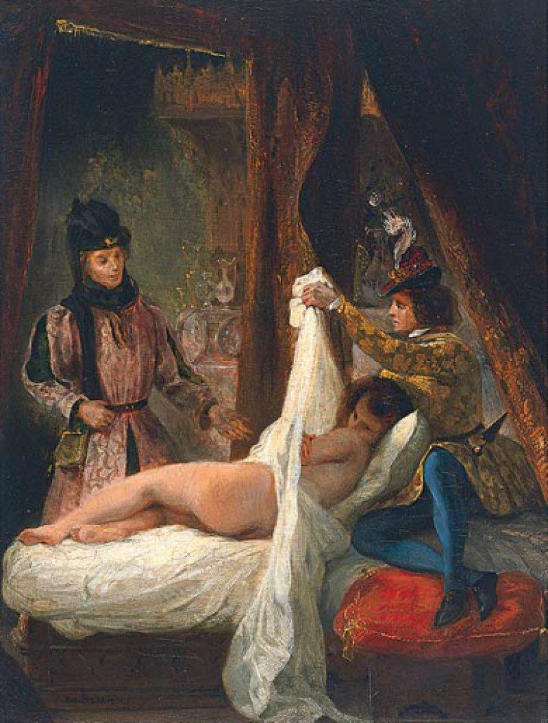 """Eugène Delacroix: """"Ludwig von Orléans zeigt seine Geliebte"""", 1825–1826, Öl auf Leinwand, 35 × 25,5 cm: In schummriger Atmosphäre liegt eine nackte Frau auf einem Diwan, vor einem Betrachter bis zur Taille durch ein weißes Laken verborgen, das ein hinter ihr sitzender Mann hält. Eine frivole Geschichte aus dem französischen Herrscherhaus Valois inspirierte Delacroix zu dem Gemälde. © Museo Thyssen-Bornemisza. Madrid"""