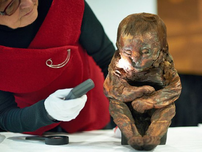 Experten aus Bad Oeynhausen versuchen zu klären, woran die Kindermumie gestorben sein könnte. Foto: dpa