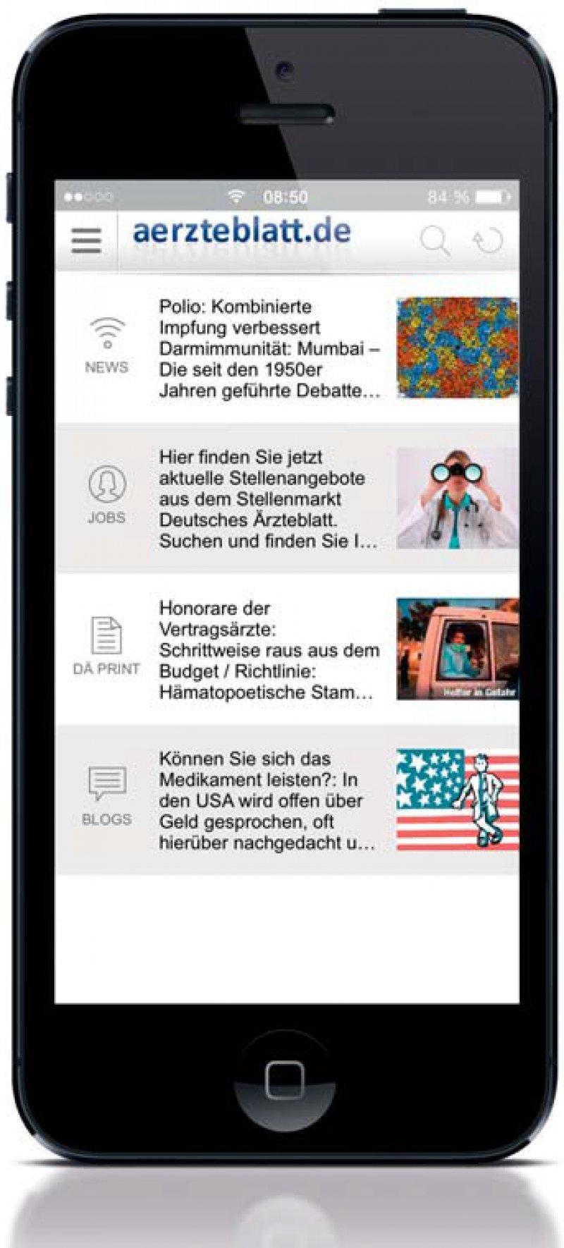 """aerzteblatt.de-App: Die vierte Version bietet einige Neuerungen: Print-Artikel lassen sich als PDFDatei speichern, eine Themenauswahl im News-Bereich zur besseren Orientierung, Bildergalerien in Nachrichten, die Übernahme des Job-Profils aus """"Mein DÄ"""" und einen integrierten QR-Code-Reader. Eine überarbei- tete Android-App wird in Kürze erscheinen."""