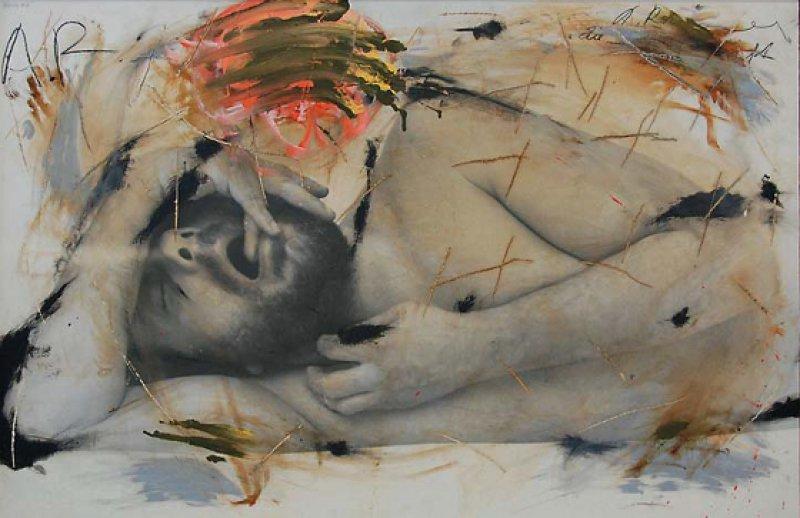 """Arnulf Rainer: """"Schlaf"""", 1973–74, Öl auf Fotografie auf Holz, 83,5 × 122 cm: In einer Art Selbstgespräch vor der Kamera konfrontiert der österreichische Künstler den Betrachter mit fremden, hässlichen, gesellschaftlich üblicherweise nicht akzeptierten Aspekten des Mensch-Seins. © Albertina, Wien, Inv. 46649"""