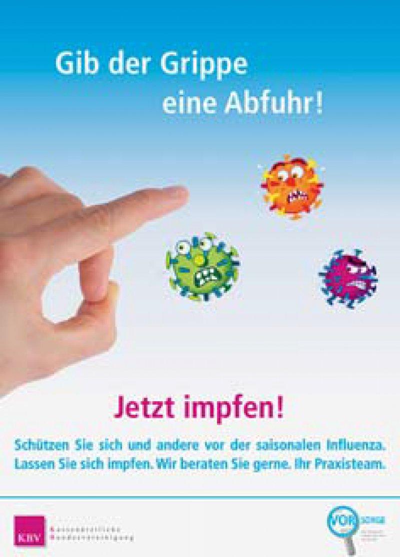 Plakat fürs Wartezimmer: Damit können Ärzte ihre Patienten auf die Grippeimpfung hinweisen.